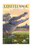Louisiana - Alligator and Baby Art