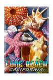 Long Beach, California - Shell Montage Art by  Lantern Press