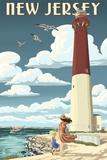New Jersey - Lighthouse Scene Art by  Lantern Press