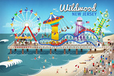 Wildwood, New Jersey - Retro Beach Boardwalk Art by  Lantern Press