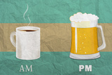 Coffee in the AM, Beer in the PM Prints by  Lantern Press