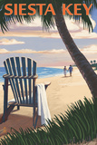Siesta Key, Florida - Adirondack Chair on the Beach Art