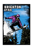 Brighton, Utah - Snowboarder - Scratchboard Prints by  Lantern Press