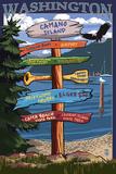 Camano Island, Washington - Destination Signpost Posters by  Lantern Press