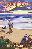 Rehoboth Beach, Delaware - Beach and Sunset Prints by  Lantern Press