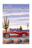 Route 66 - Corvette Plakater af  Lantern Press