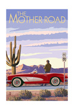 Route 66 - Corvette Prints by  Lantern Press