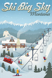 Big Sky, Montana - Retro Ski Resort Posters
