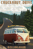 Chuckanut Drive - Bellingham, WA - VW Van Prints by  Lantern Press