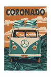 Coronado, California - VW Van Prints by  Lantern Press