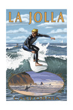 La Jolla, California - Surfer with Inset Prints by  Lantern Press
