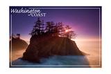 Washington Coast - Ocean Island Sunset Posters by  Lantern Press