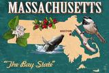 Massachusetts - State Icons Prints by  Lantern Press