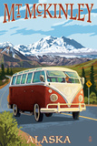 Mount McKinley, Alaska - VW Van Print by  Lantern Press