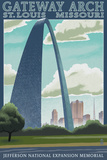 St. Louis, Missouri - Gateway Arch Lithography Style Print by  Lantern Press