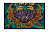 Lopez Island, Washington - Dungeness Crab Mosaic Prints by  Lantern Press