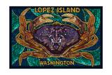 Lopez Island, Washington - Dungeness Crab Mosaic Prints by  Lantern Press