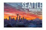 Seattle, Washington - Rainier and Sunrise Prints by  Lantern Press