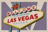Las Vegas, Nevada - Welcome Sign Woodblock Posters