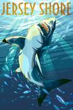 Jersey Shore - Stylized Shark Posters by  Lantern Press