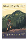 Ossipee Lake, New Hampshire - Live Free and Climb Art by  Lantern Press
