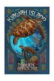 Kiawah Island, South Carolina - Sea Turtle Art Nouveau Poster van  Lantern Press
