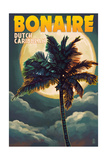 Bonaire, Dutch Caribbean - Palm and Moon Print by  Lantern Press