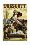 Prescott, Arizona - Cowgirl Pinup Posters by  Lantern Press