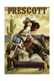 Prescott, Arizona - Cowgirl Pinup Posters
