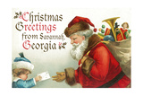 Lantern Press - Christmas Greetings from Savannah, Georgia - Santa Getting Letter - Poster