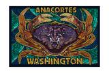 Anacortes, Washington - Dungeness Crab Mosaic Prints by  Lantern Press