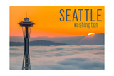 Seattle, Washington - Space Needle and Foggy Sunset Prints by  Lantern Press