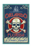Orlando, Florida - Skull and Crossbones - Vintage Sign Prints by  Lantern Press