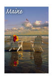 Maine - Adirondack Chairs on the Beach Prints by  Lantern Press