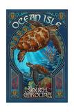 Ocean Isle, South Carolina - Sea Turtle Art Nouveau Posters van  Lantern Press