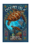 Ocean Isle, South Carolina - Sea Turtle Art Nouveau Prints by  Lantern Press