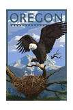 Oregon - Eagle Perched with Chicks Prints by  Lantern Press