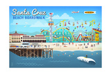 Santa Cruz, California - Retro Scene Prints by  Lantern Press