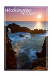 Washington Coast - Rocky Cove and Sunset Prints by  Lantern Press