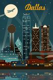 Dallas, Texas - Retro Skyline Art par  Lantern Press