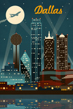 Dallas, Texas - Retro Skyline Art by  Lantern Press