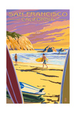 San Francisco, California - Surfers at Sunset Poster by  Lantern Press
