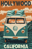 Hollywood, California - VW Van Prints by  Lantern Press