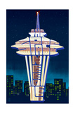 Space Needle - Typography - Seattle, Washington Prints by  Lantern Press