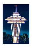 Space Needle - Typography - Seattle, Washington Prints by  Lantern Press