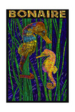 Bonaire, Dutch Caribbean - Seahorse Mosaic Prints by  Lantern Press