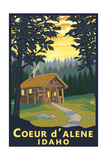 Coeur D'Alene, Idaho - Cabin in Woods Posters by  Lantern Press