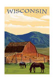 Wisconsin - Red Barn and Horses Prints by  Lantern Press