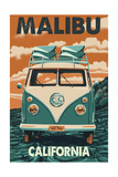 Malibu, California - VW Van Art by  Lantern Press