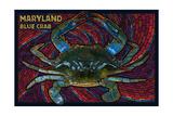 Maryland - Blue Crab Paper Mosaic Plakater af Lantern Press